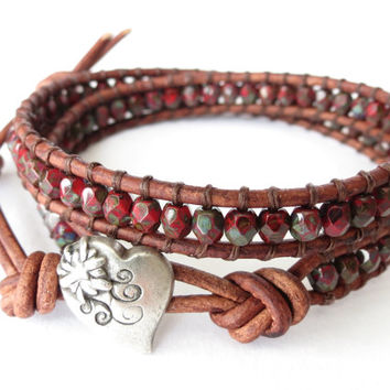 Southwestern leather wrap bracelet , faceted beads in earthy red, jewelry gift for best friend, hippie fashion