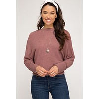 Off the Shoulder Thermal Batwing Top - Red Bean