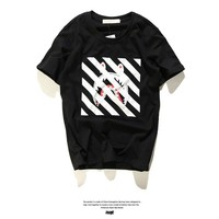 Off White Style Stripes Short Sleeve T-shirts [10262358675]