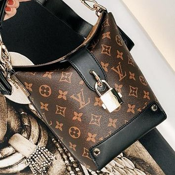 LV Louis Vuitton Fashion New Monogram Leather Handbag Shopping Leisure Bucket Bag Shoulder Bag Women Crossbody Bag