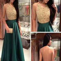 Custom Made A Line Round Neck Green and Golden Long Prom Dress, Golden and Green Formal Dress