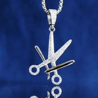 Men's Barber Scissors Clippers Razor Iced Out Pendant Free Chain