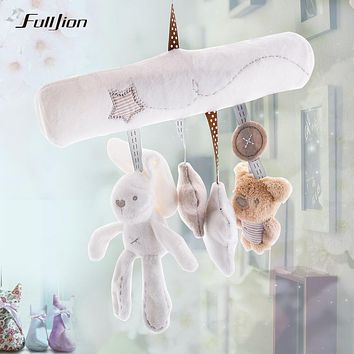 Fulljion Baby Rabbit Toys Stroller Accessories Hanging Plush Educational Toy Doll Trolley Bells Rattles Carriage Multifunctional