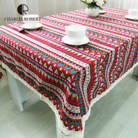 2016 New Arrival Tablecloth for Dinner Sign Style High Quality Lace Cloth Bohemia Style Decorative Army Blue Style Table Cloth