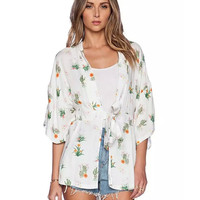 Floral Print Bow Waist  3/4 Sleeves Ruched Cardigan