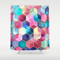 Topaz & Ruby Crystal Honeycomb Cubes Shower Curtain by Micklyn