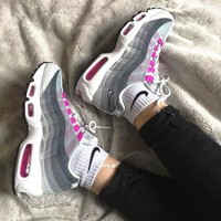 """NIKE"" Air Max 95 Fashion Men Running Sport Casual cushion Shoes Sneakers Rose+Grey B"