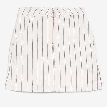 MOTO Pinstriped Denim Skirt - Denim - Clothing