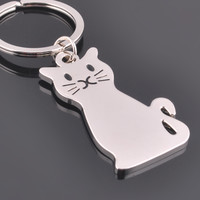 Cat Lovers Silver Keychain