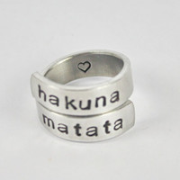 Hakuna Matata Wrap Ring, Lion King Inspired Ring, Gift Ring, Aluminum Twist Hand Stamped Adjustable Ring V3