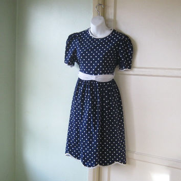 Adorable Vintage Navy Blue Polka Dot Dress - Small White/Navy Polka Dot Babydoll Dress - Puffy Sleeve Navy Dot Knee Length