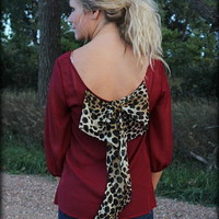 Maroon Bow back blouse in cheetah in plus size - Filly Flair