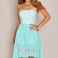 Strapless Mint Lace Bodice High Low Dress