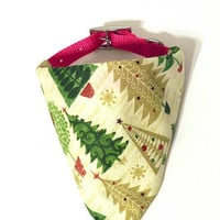 Gold Green Primitive Christmas Tree Holiday Monogrammed/Personalized Slip On Dog Puppy Over Collar Bandana Neckerchief Fashion Accessory