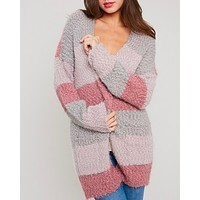 Fuzzy Popcorn Yarn Sweater Colorblock Long Cardigan in Stripe Mauve Multi