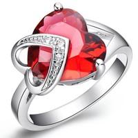 18K White Gold Plated Double Heart Red Crystal Cocktail Ring