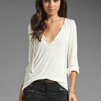 Michael Stars Essentials Long Sleeve Shirred Blouse in Vanilla from REVOLVEclothing.com