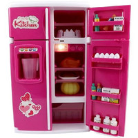 Dream Kitchen Mini Refrigerator Pink Toy Fridge Playset for Dolls with Play Food Set