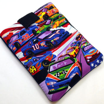 Hand Crafted Tablet Case from Race Car Cotton Fabric/ Tablet Case for iPad, Kindle Fire HD, Samsung Galaxy, Nook HD, Google Nexus,