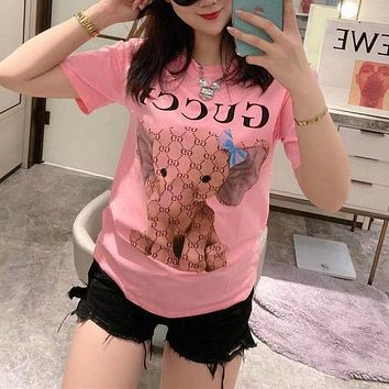 """ Gucci"" Woman Casual Fashion Elephant Letter Solid Color Printing Loose Large Size Short Sleeve T-Shirt Tops"
