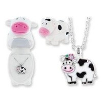 COW Shaped Pendant Necklace with jewelry gift box