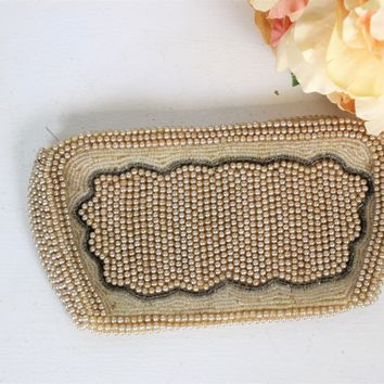 1940s Beaded Clutch Purse Covered In Faux Pearls