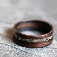 Wooden Ring - Ebony with Lake Superior Sand
