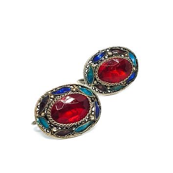 Chinese Export Red Enamel gold over sterling silver vintage screw back earrings