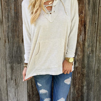 White Loose Hooded Long-Sleeved Sweater Spot