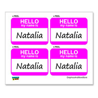 Natalia Hello My Name Is - Sheet of 4 Stickers