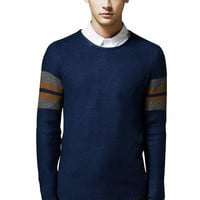 Color Block Textured Knit Man Long Sleeves Sweater