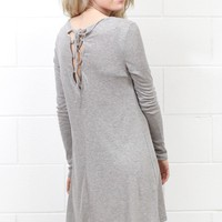 Lace Up Back L/S Ribbed Dress {H. Grey} - Size LARGE