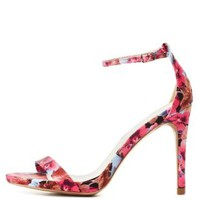 Floral Single Strap Heels by Qupid at Charlotte Russe