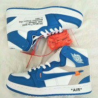 """""""Nike Air Jordan I x OFF-White"""" Unisex Casual Fashion Multicolor Letter High Help Plate Shoes Couple Basketball Sneakers"""