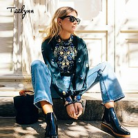 TEELYNN BOHO Women Blouses floral embroidered lantern long sleeve satin blouse Casual Dark green Blouse short femme top