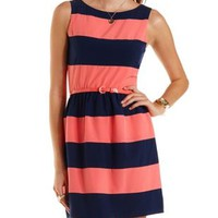 Navy Combo Belted Rugby Stripe Skater Dress by Charlotte Russe