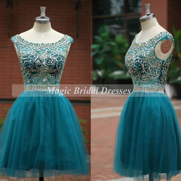 Fashion Style Short Prom Dress 2015 Scoop Neckline Beading Sequins Fine Tulle above knee Girls Party Gown Blue Cocktail Dress V Back Design