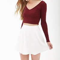 FOREVER 21 Textured Dot Skater Skirt Cream