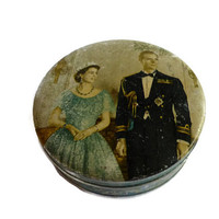Vintage Biscuit Tin Queen Elizabeth Prince Phillip Coronation 1953 . Cookie Tin . Round Keepsake Box  . Old Trinket Box .
