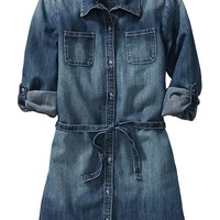 Old Navy Girls Denim Shirt Dresses Size XS - Dark wash