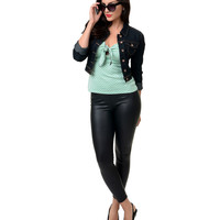 Retro Black Faux Leather High Waist Cigarette Pants