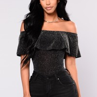So Into You Off Shoulder Bodysuit - Black/Silver