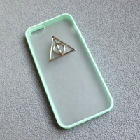 Iphone 5 Case,Harry Potter Deathly Hallows Iphone 5 Case, iPhone Case 5 Mint green color frosted translucent case