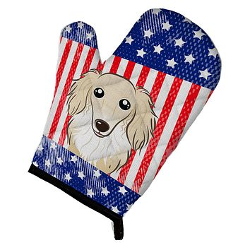 American Flag and Longhair Creme Dachshund Oven Mitt BB2142OVMT