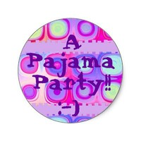 PARTY - Pajama Party with Festive Circles Sticker from Zazzle.com