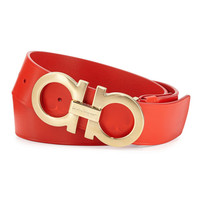 Brushed Gold Buckle Red Leather Belt by Ferragamo