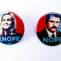 Leslie Knope and Ron Swanson Badge Set - Parks and Recreation, Amy Poehler - Pin Back Badge