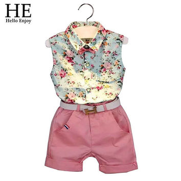 HE Hello Enjoy girls clothes summer 2017 girls clothing sets kids clothes Floral girl shirts+shorts clothing sets 3-8 year