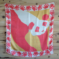 Large Vintage Francesca for Damon Silk Scarf Square Panda Bear Salmon Pink and Gold Paw Print silk scarf