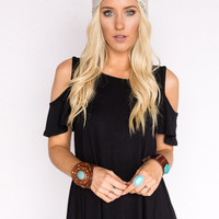 Black Flutter Sleeve Cold Shoulder Tee